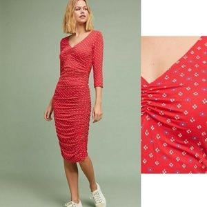 NWT red Anthropologie Medea Ruched Column Dress